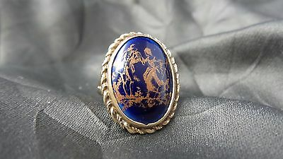 Beautiful Antique 9K Yellow Gold & Royal Blue Limoges Porcelain Ring - Size 7.25