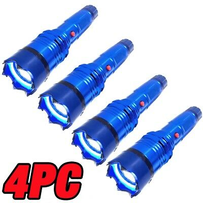 4 PC Metal MILITARY Stun Gun 260 Million Volt Rechargeable LED Flashlight BLUE