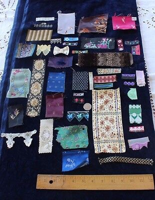 Collection Of 45 Antique French Silk Jacquard Pieces,Braids &Trims Samples~Dolls