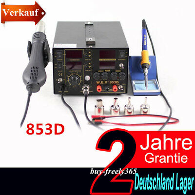 5A 220V Soldering Rework Station 3in1 853D Iron SMD+Hot Air Gun +Power supply