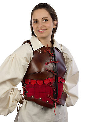 Female Leather Armour, Brown/Red, LARP medieval leatherarmour reenactment ladies