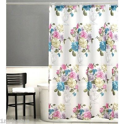 Maytex Marrivale Fabric Shower Curtain French Country Floral Organza Sheer White