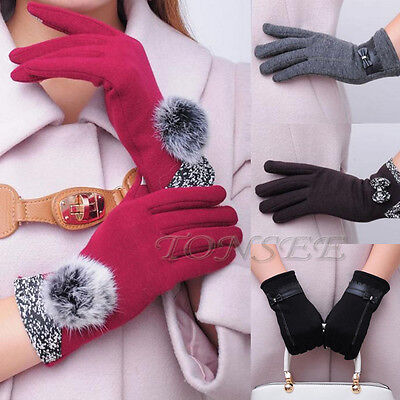 Fashion Women New Leather Bowknot Splice Touch Screen Winter Warm Mittens Gloves