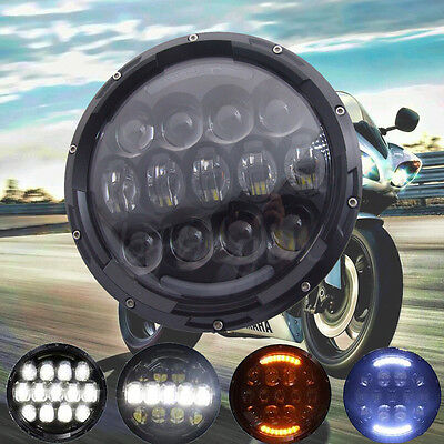 """7"""" 105W LED Motorcycle turn signal Daymaker HID Lamp Bulb Headlight  For Harley"""