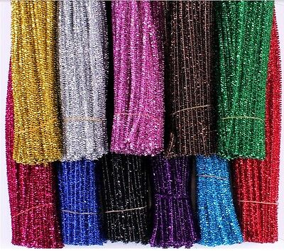 DIY 100PCS Chenille Craft Stems Tinsel Pipe Cleaners Assorted Colours 30cm x 6mm