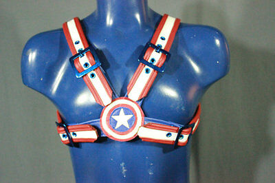 MENS LEATHER CHEST HARNESS GAY Men's captain america Leather Harness 38, to 48