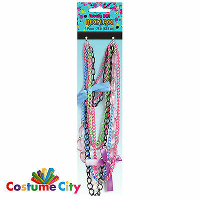 Womens Ladies Totally 80s Chain Necklace 1980s Fancy Dress Costume Accessory