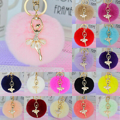 Real Rex Rabbit Fur Ball PomPom Charm Car Keychain Handbag Key Ring Pendant Gift