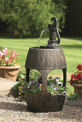 Garden Water Feature Barrel With Planter Built In Water Reservoir and Pump
