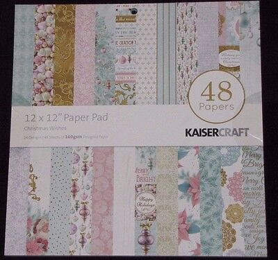 "Kaisercraft 'CHRISTMAS WISHES' 12"" Paper Pad - 48 Sheets (24 Designs x2) KAISER"