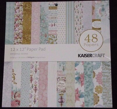 Kaisercraft 'CHRISTMAS WISHES' 12x12 Paper Pad - 48 Sheets(24 Designsx2) RRP $20