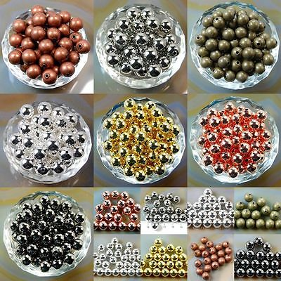 Wholesale 200Pcs Smooth Round Metal Copper Spacer Beads  3mm  6mm 8mm