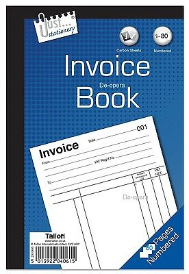 Full Size A5 Invoice Duplicate Receipt Book Numbered Cash 1 - 80 Pages Pad NEW!