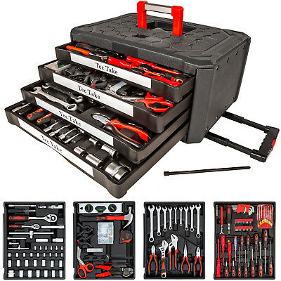200pc tool box with tools kit storage mobile trolley on wheels with 4 drawers
