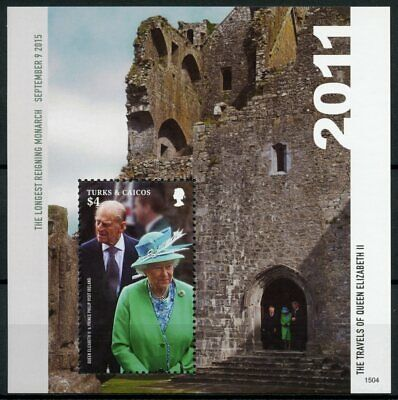 Turks & Caicos 2015 MNH Queen Elizabeth II Longest Reigning 1v SS Royalty Stamps