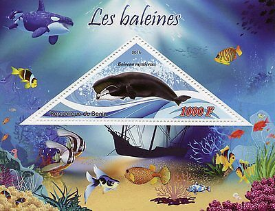 Benin 2015 MNH Whales 1v S/S Baleines Bowhead Whale Marine Animals Stamps