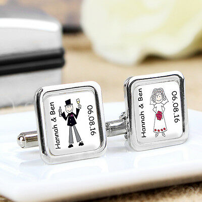 Personalised Cufflinks Gifts Idea For Wedding Bride Groom Mr & And Mrs Thank You
