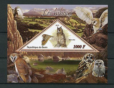 Benin 2015 MNH Owls 1v S/S Long-Eared Owl Birds Stamps