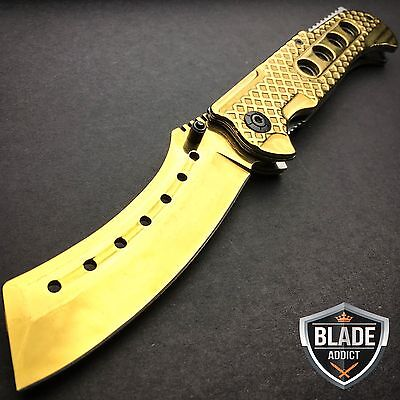 "9"" TACTICAL Razor Spring Assisted Open Folding Pocket Knife GOLD CLEAVER New"