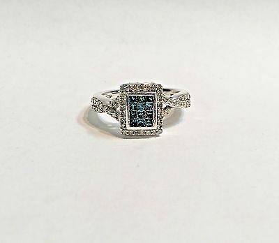 Blue and White Diamond Invisible Set Ring