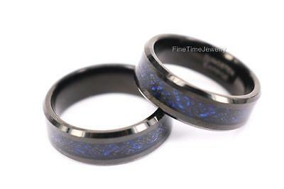 TWO Matched Set Blue Tungsten Carbide Black Celtic Dragon Ring Mens Wedding Band