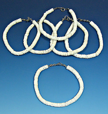 12 Pc Lots BOHO Surfer SUP Girls 8 in. Bracelets White Round Puka Shell #6273