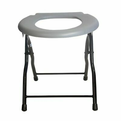 Folding Commode Toilet Chair Steel Portable Camping Seat, 250 Pounds Capacity