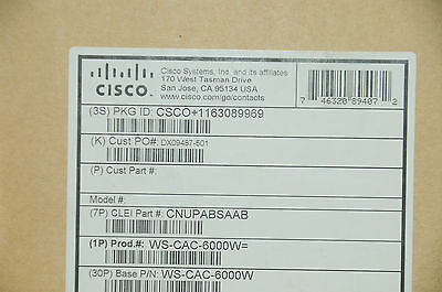 *Brand New* Cisco WS-CAC-6000W AC Power Supply for Catalyst 6500 6MthWty TaxInv