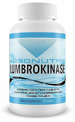 Absonutrix LUMBROKINASE 40mg Enteric Coated Supports Healthy Heart 60 Tablets