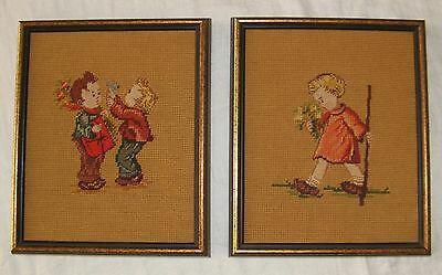 Pair Of (2) Vintage Needlepoint  Pro Framed Pictures 11.5 X 9.5 Very Nice