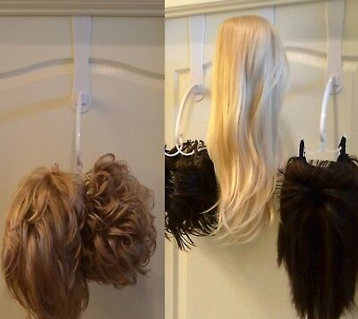 Multiple Wig Stand/Wig Hanger -Stores Your Wigs + Adhesive No Mess Drip Dry Base