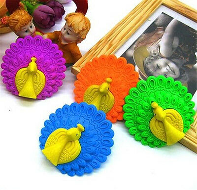 FD3870 Creative Cute Peacock Eraser Rubber Pencil Stationery Child Gift Toy 1pc♫