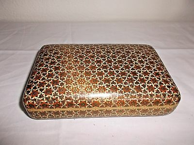 Vintage Middle Eastern Lacquer Box with Geometric Inlay gold/orange/black/white