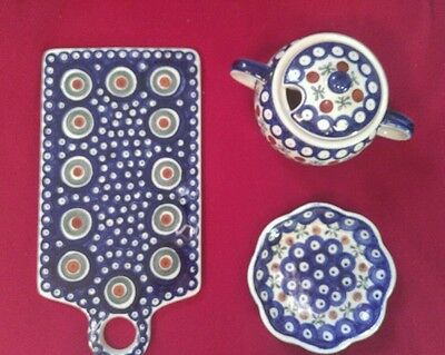 LOT Polish Boleslawiec blue pattern hand painted & crafted ceramic pottery MINT