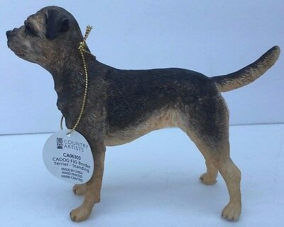 Country Artists Border Terrier Dog Breed England Scotland Figurine Collectible