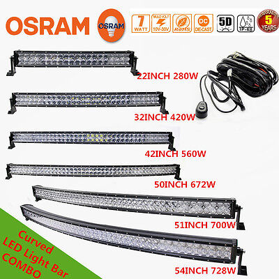 Xmas!5D Curved COMBO 280W-728W Led Work Light Bar Offroad Driving Lamp 4WD SUV