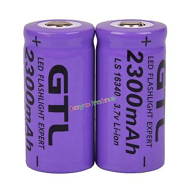 2x 3.7V CR123A CR123 16340 2300mAh Rechargeable Battery Cell