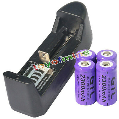 4x 16340 CR123A 123A 3.7V 2300mAh batteria ricaricabile + Charger AA
