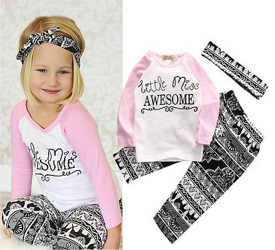 Boutique Kids Baby Girls Top T-shirt Pants Leggings Headband Outfits Clothes Set