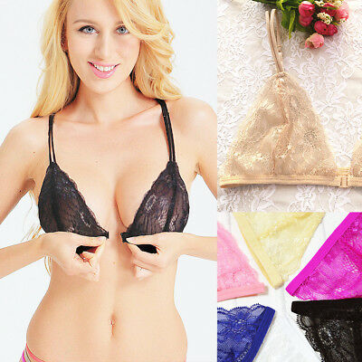 Front Fastening Closure Bra Sheer Lace Plunge Wireless Mesh triangle Bralette