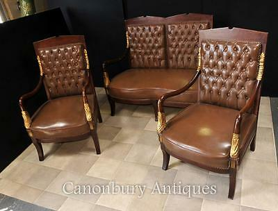French Empire Sofa Arm Chair Suite Leather Chairs Couch