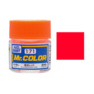 MR HOBBY Color C171 Fluorescent Red (Flat / Primary) 10ml Model Kit Paint New