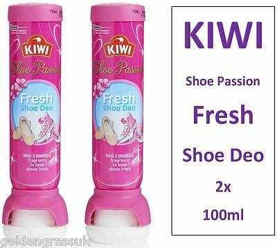 2x Kiwi Deo Fresh Shoe Deodorant Anti Bacteria 48h Odour Kill Spray PINK PASSION
