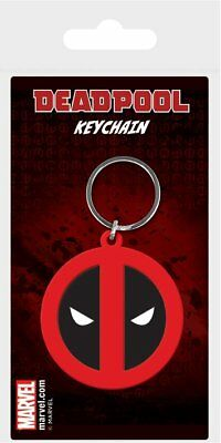 Deadpool Face Symbol Logo Marvel Comics Rubber Keyring Keychain Official
