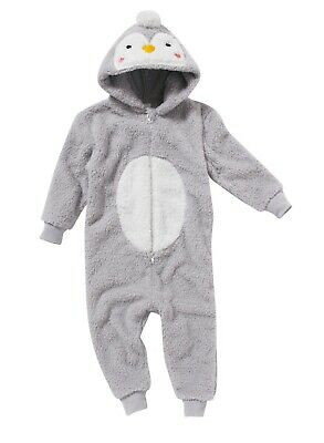 World Book Day Baby Penguin 1Onesie Girls Boys Character Jumpsuit Playsuit Grey