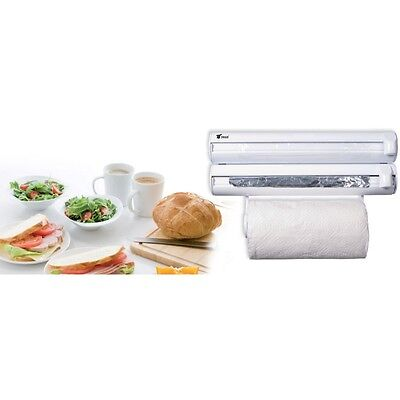 Dispensador De Cocina 3 En1 Rollo De Papel Film Transparente Aluminio Para Pared