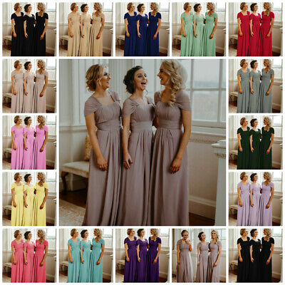 New Chiffon Bridesmaid Dresses Wedding Maxi Long Formal Party Prom Evening Gown