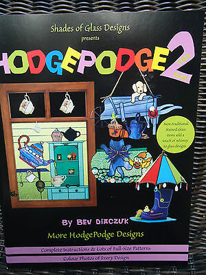 HodgePodge 2 Shades of Glass Stained Glass Designs  by Bev Diaczuk Unused Uncut