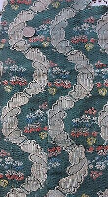 "Antique French 18thC Floral & Lace Silk Brocaded Textile Fabric~L-34"" X W-8.5"""