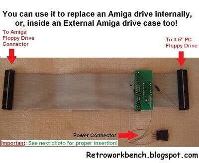 "Amiga internal drive adapter cable for connecting 3.5"" PC floppy disk drive"